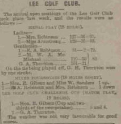 Lee Golf Club, North Devon. Results from the annual meeting in September 1912.