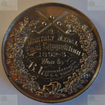 The Leicester/Leicestershire Golf Club. Leicester GC Medal inscribed B Lorrimer 1892-3.