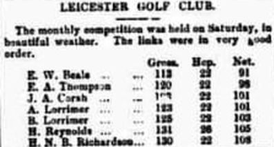 Leicester Golf Club. Result of the March 1893 Monthly Medal for Leicester Golf Club.