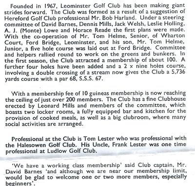 Leominster Golf Club, Herefordshire. Article on the current club from 1967.