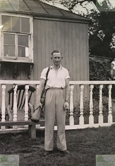 Leyburn Golf Club, North Yorkshire. Pete Wright outside the clubhouse in1938.