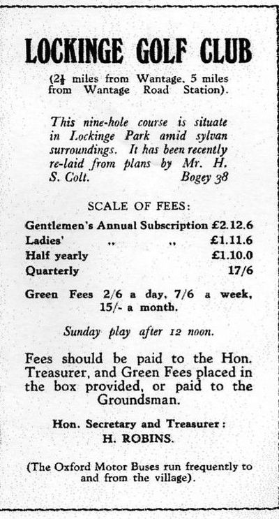 Lockinge Golf Club, Wantage, Oxfordshire. Lockinge golf club advert