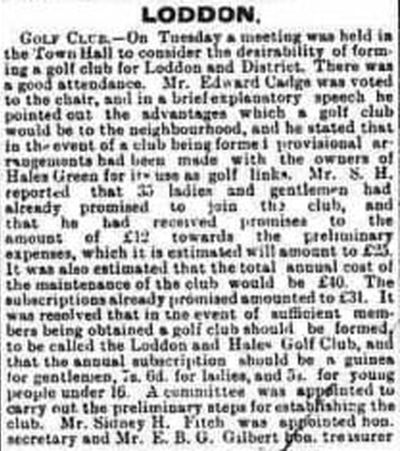 Loddon & Hales Golf Club, Norfolk. Report on the proposed new golf club.