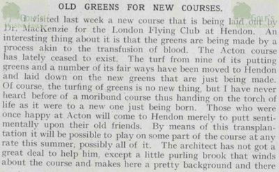 Acton Golf Club, London. Greens transplanted at the London Flyin Golf Club.