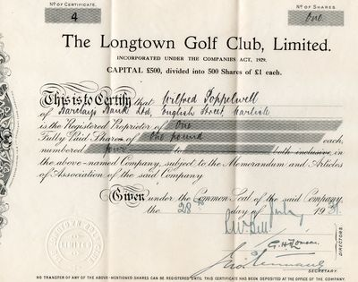Longtown Golf Club, Cumbria. Longtown Share Certificate.