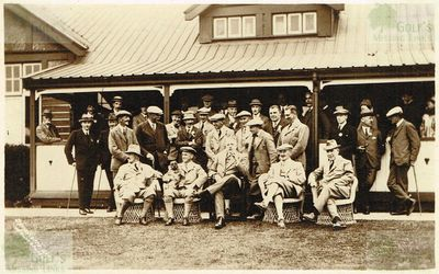 Lowestoft Golf Club, Pakefield, Suffolk. Golfers outside the clubhouse in the 1920s.