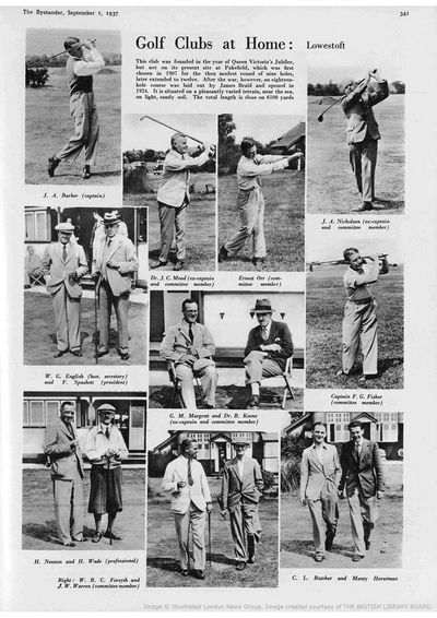 Lowestoft Golf Club, Suffolk. Article from The Bystander in September 1937.