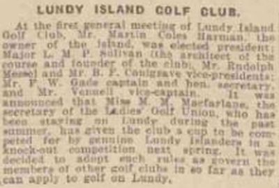 Lundy Island Golf Club, Devon. The first general meeting in September 1927.