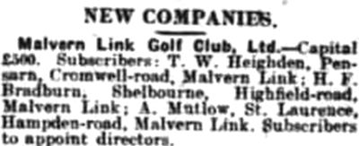 Malvern Link Golf Club, Pickersleigh Road, Malvern. Evidence of the club in January 1920.