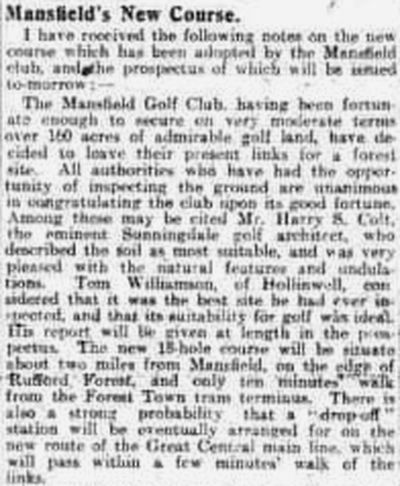 Mansfield Golf Club, Nottinghamshire. Report on the new (present) course in November 1911.