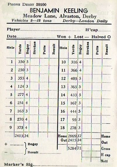Markeaton Golf Club, Derby. Course scorecard.