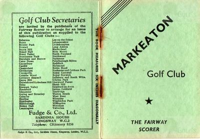 Markeaton Golf Club, Derby. Front cover of booklet.