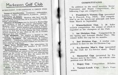 Markeaton Golf Club, Derby. Membership and competitions.