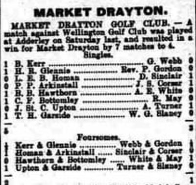 Wellington Golf Club (Steeraway), Shropshire. Result of a match played at Market Drayton.