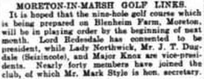 Moreton-in-Mrash Golf Club, Gloucestershire. Report on the proposed golf course November 1906.