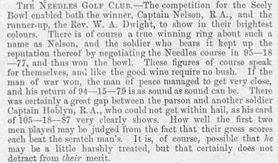 Needles Golf Club, Alum Bay, Isle of Wight. The result of the Seely Bowl played in July 1893.