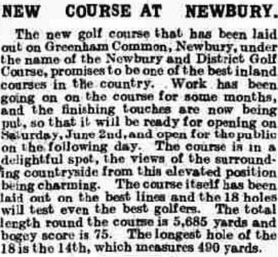 Newbury and District Golf Club, Greenham Common. Report on the new golf course in May 1923.