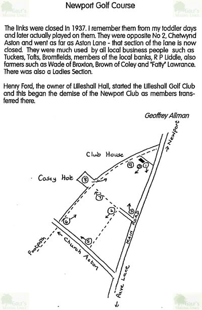Newport Golf Club, Shropshire. Information courtesy of Newport History Society.