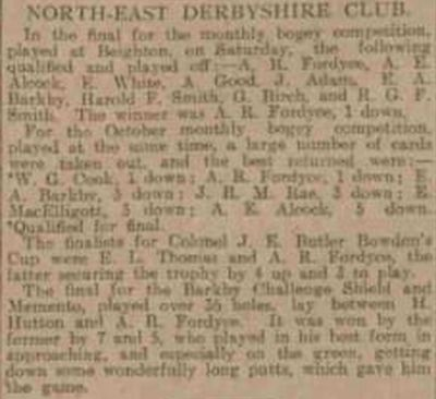 North-East Derbyshire Golf Club, Beighton. Competition results from October 1909.