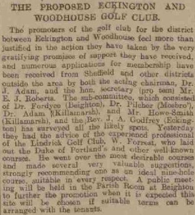 North East Derby Golf Club, Beighton. The proposed Eckington and Woodhouse Golf Club in October 1906.
