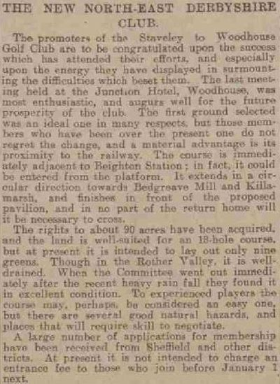 North East Derby Golf Club, Beighton. Report on the new North East Golf Club in December 1906..
