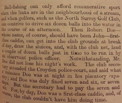 North Surrey Golf Club, Norbury. The Golf Ball Fishing Case.