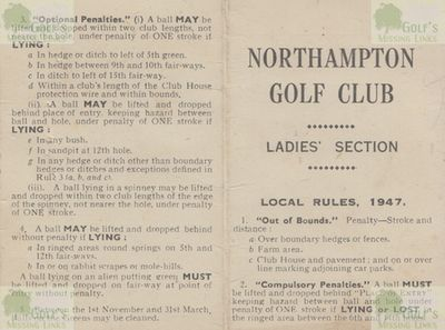 Northampton Golf Club, Kettering Road. Scorecard for the ladies' section 1947.