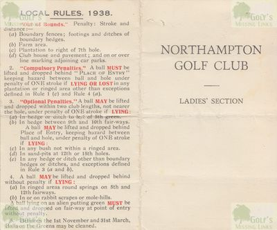 Northampton Golf Club, Kettering Road. Scorecard for the ladies'section 1938.