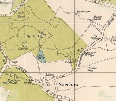 Northaw Golf Club, Potters Bar, Herts. The course on a 1930s map.