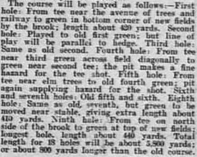 Leamington Golf Club, Milverton Course. Report on the extended course at Milverton in 1911.