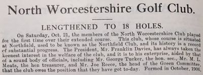 North Worcestershire Golf Club, Northfield. Article from the Birmingham Golfer in November 1911.