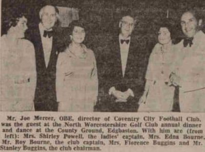North Worcestershire Golf Club, Northfield. Joe Mercer at the annual dinner dance in 1977.