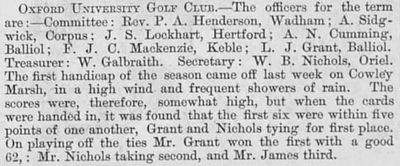 Oxford University Golf Club. Officers for the term and competition result November 1882.
