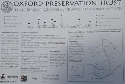 Berkeley Golf Course, Boars Hill, Oxford. The on-site information board with history of the area.