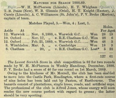 Oxford University Golf Club. The Golfing Annual 1888/89.