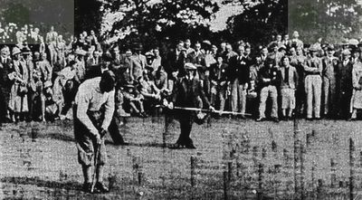 Oxhey Golf Club, Hertfordshire. Henry Cotton and J Adams at Oxhey in 1936.