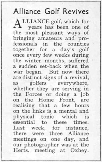 Oxhey Golf Club, Hertfordshire. Article from The Illustrated Sporting Dramatic News May 1940.