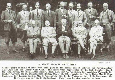 Oxhey Golf Club, Herts. Match between the Oxhey Golf and Parliamentary Golf Club July 1928.