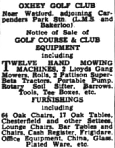 Oxhey Golf Club, Hertfordshire. Selling off the course equipment etc. in January 1947.