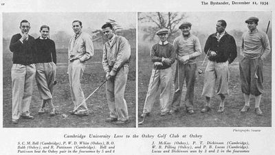 Oxhey Golf Club, Hertfordshire. Pictures from a match against Cambridge University in December 1934.