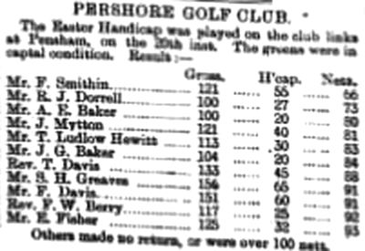 Pershore Golf Club, Worcestershire. Result from the Easter Meeting in March 1894.