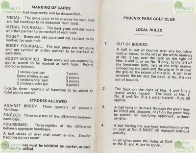 Phoenix Park Golf Club, Bradford. Scorecard for Phoenix Park dated 19/4/1988.
