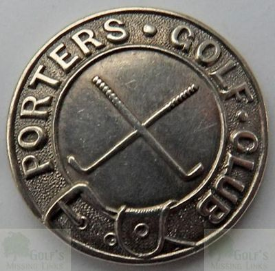 Porters Golf Club, Radlett, Herts. Club button (front).