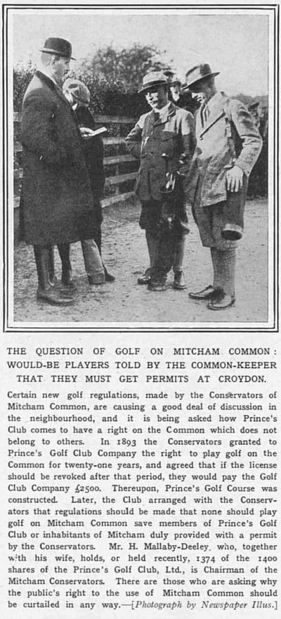 Prince's Golf Club, Mitcham, Surrey. From The Sketch November 1913.