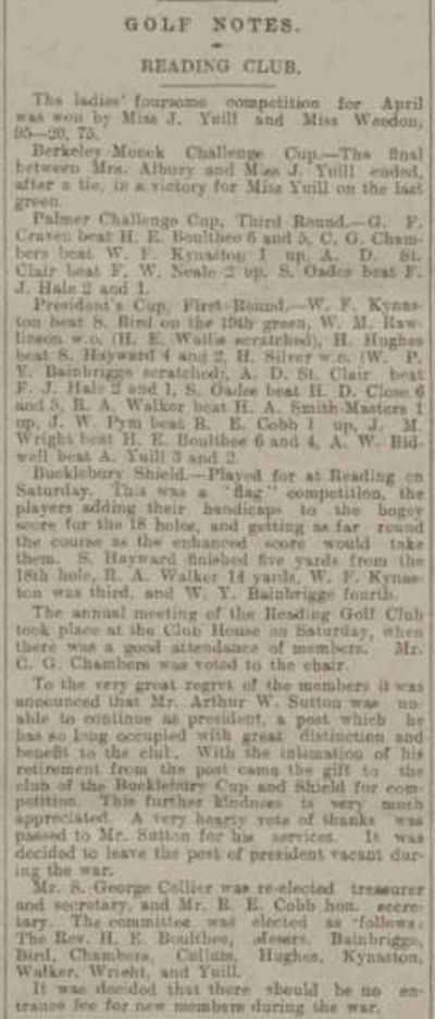 Reading Golf Club, Berkshire. A report from the Reading Mercury May 1915.