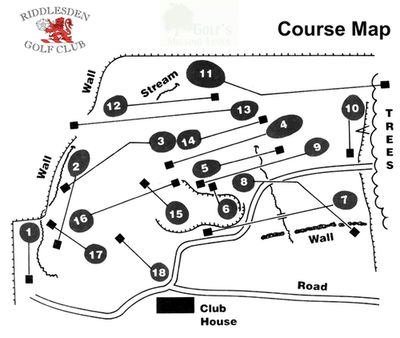 Riddlesden Golf Club, Keighley, Yorks. Layout of the golf course.