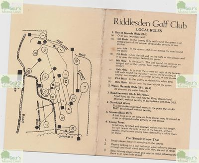Riddlesden Golf Club, Keighley, Yorkshire. Course scorecard from 1989.