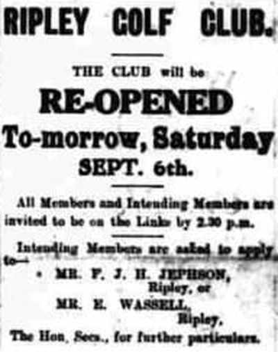 Ripley Golf Club, Derbyshire. The re-opening of Ripley Golf Club September 1919.
