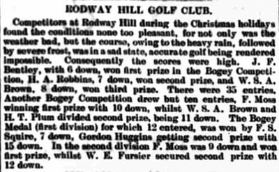 Rodway Hill Golf Club, Mangotsfield. Competition results played over Christmas 1908.