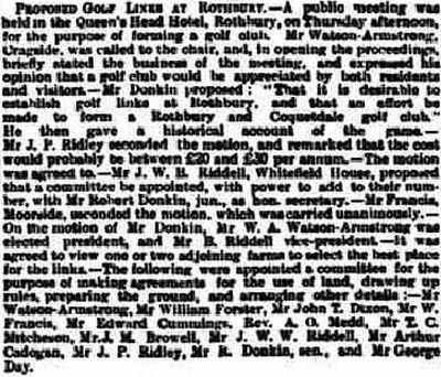Rothbury Golf Club, Northumberland. Report on the proposed golf links December 1891.